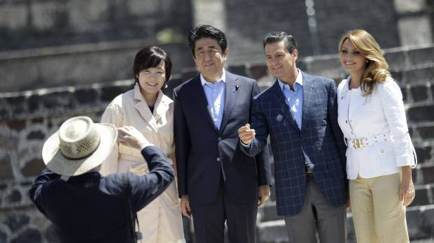 Abe tours ancient pyramids with Mexican leader