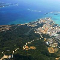 An aerial photo taken in February shows the Henoko district of Nago, Okinawa Prefecture, where U.S. Marine Corps Air Station Futenma will be relocated. | KYODO