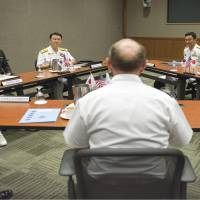 The Japanese, United States and South Korean chiefs of staff meet Tuesday in Honolulu, Hawaii. | DEFENSE MINISTRY/KYODO