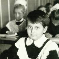 A 7-year-old Nataliya Gudziy sits in a classroom on her first day at a public elementary school in Kiev in September 1987.  |  COURTESY OF NATALIYA GUDZIY