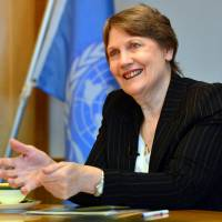 United Nations Development Programme Administrator Helen Clark is interviewed Wednesday in Tokyo.  Clark said the larger participation of women is essential for Japan's economic breakthrough, urging the society to 'eliminate misogyny.' | AFP-JIJI