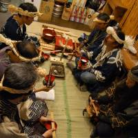 Tribal treats: HaruKor offers traditional Ainu cuisine along with a chance to learn about Japan's indigenous people, whose food culture is all but extinct. To mark the restaurant's third anniversary, a Kamuy-nomi ritual was held to invoke prosperity. | KAYOKO KIMURA