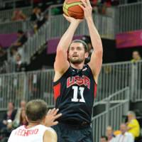 Staying home: Forward Kevin Love, seen here during the London Olympics, has withdrawn from the U.S. team for the upcoming World Cup in Spain. | AP