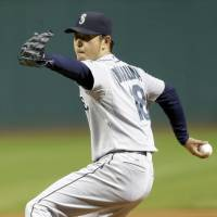 Home away from home: Hisashi Iwakuma pitches against the Indians on Tuesday in Cleveland. The Mariners won 5-2 as Iwakuma remained unbeaten in road games since last July. | AP