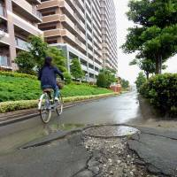 Water world: A woman cycles in June 2011 along a footpath in Chiba Prefecture that was damaged by liquefaction in the Great East Japan Earthquake. | KYODO
