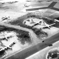 The superfortress: B-29s are parked next to a runway at a U.S. airfield on Saipan in August 1945. KYODO