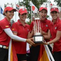 Viva Espana: The Spanish team celebrates its win in the LPGA International Crown on Sunday. | AP