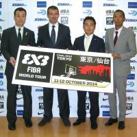 New attitude: FIBA director Alex Sanchez (second from left) is hoping 3x3 basketball will be added to the program for the 2020 Olympics. | KAZ NAGATSUKA