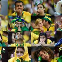 Didn't see this coming: Brazilian fans react in a combination of photos taken during the nation's loss to Germany in the semifinals of the World Cup on Tuesday in Belo Horizonte, Brazil. | AFP