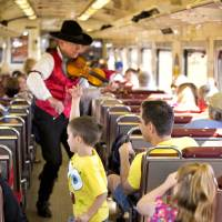 A performer plays violin onboard the train. | AP