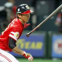 Long way to go: Kenta Imamiya and the Hawks hold a slim lead atop the Pacific League standings. | KYODO