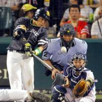 Brightest star: Fukuoka Softbank's Yuki Yanagita hits a two-run home run for the Pacific League during Saturday's 12-6 win over the Central League in Game 2 of the NPB All-Star Series. Yanagita was named the game's MVP. | KYODO