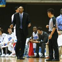 Moving on up: New Utah Jazz assistant coach Antonio Lang, seen while guiding the Mitsubishi Diamond Dolphins, says his coaching duties in Japan helped him land a job in the NBA. KAZ NAGATSUKA