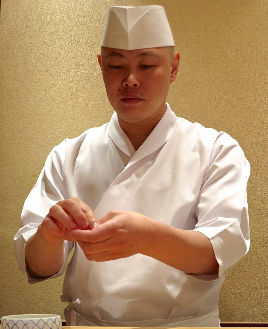 Owner-chef Hisayoshi Iwa learned his skills at Tokyo's highly respected Sushi Kanesaka and went solo in September 2012.