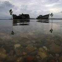 Decaying wrecks of confiscated foreign trawlers rot in a shallow estuary near Penagi, in Indonesia's Natuna archipelago, last month. | REUTERS