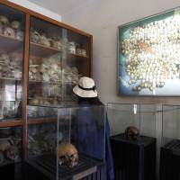 A tourist on July 10 looks at human skulls of genocide victims at the Tuol Sleng Genocide Museum, formerly the most notorious Khmer Rouge prison, in Phnom Penh. A U.N.-assisted court on Thursday will deliver its verdicts in a case against the two most senior surviving leaders of the regime, charged with crimes against humanity.   AP
