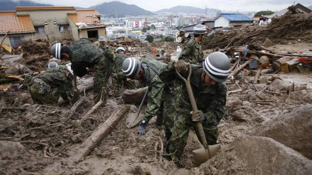 Continuing heavy rain delays search for dead in Hiroshima landslides