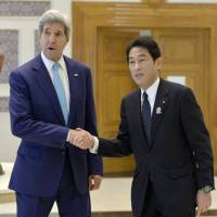 Japan backs U.S. airstrikes on militants in Iraq, Kishida tells Kerry