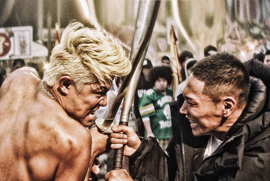 Against the world: Mera (Ryohei Suzuki), leader of Bukero's Wu-Ronz mob, deep in battle with Musashino Saru leader Kai (Young Dais) in Sion Sono's over-the-top hip-hop-themed film 'Tokyo Tribe.'
