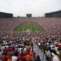 Full house: A crowd of 109,318 packs Michigan Stadium in Ann Arbor on Saturday to see Manchester United play Real Madrid in an exhibition game. Man United won 3-1. | AP