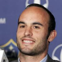 Big decision: LA Galaxy star Landon Donovan announces he will retire after the MLS season at a news conference in Carson, California, on Thursday. | AP