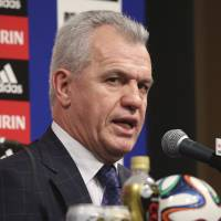 Setting the tone: Javier Aguirre, the new Japan soccer team manager, speaks during his introductory news conference in Tokyo on Monday. Aguirre's first scheduled match in charge is a Sept. 5 friendly against Uruguay at Sapporo Dome. | AP