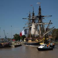 Replica of Lafayette's 18th century warship tests French waters