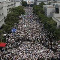 Thousands of Hong Kong students seek to 'grasp destiny' in demand for democracy