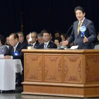 Abe pressures North Korea at rally for abductees' families