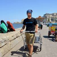 Tottori man starts walk across Africa with two-wheeled cart