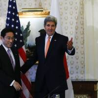 Japan sides with U.S. over airstrikes in Syria, Kishida tells Kerry
