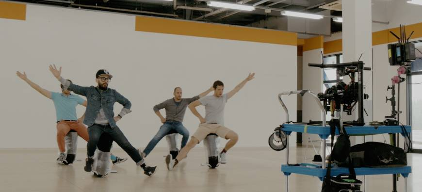 OK Go go through the dance moves during rehearsal days.