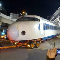 Early-model shinkansen unit taken from closed Osaka museum, ultimately bound for Kyoto