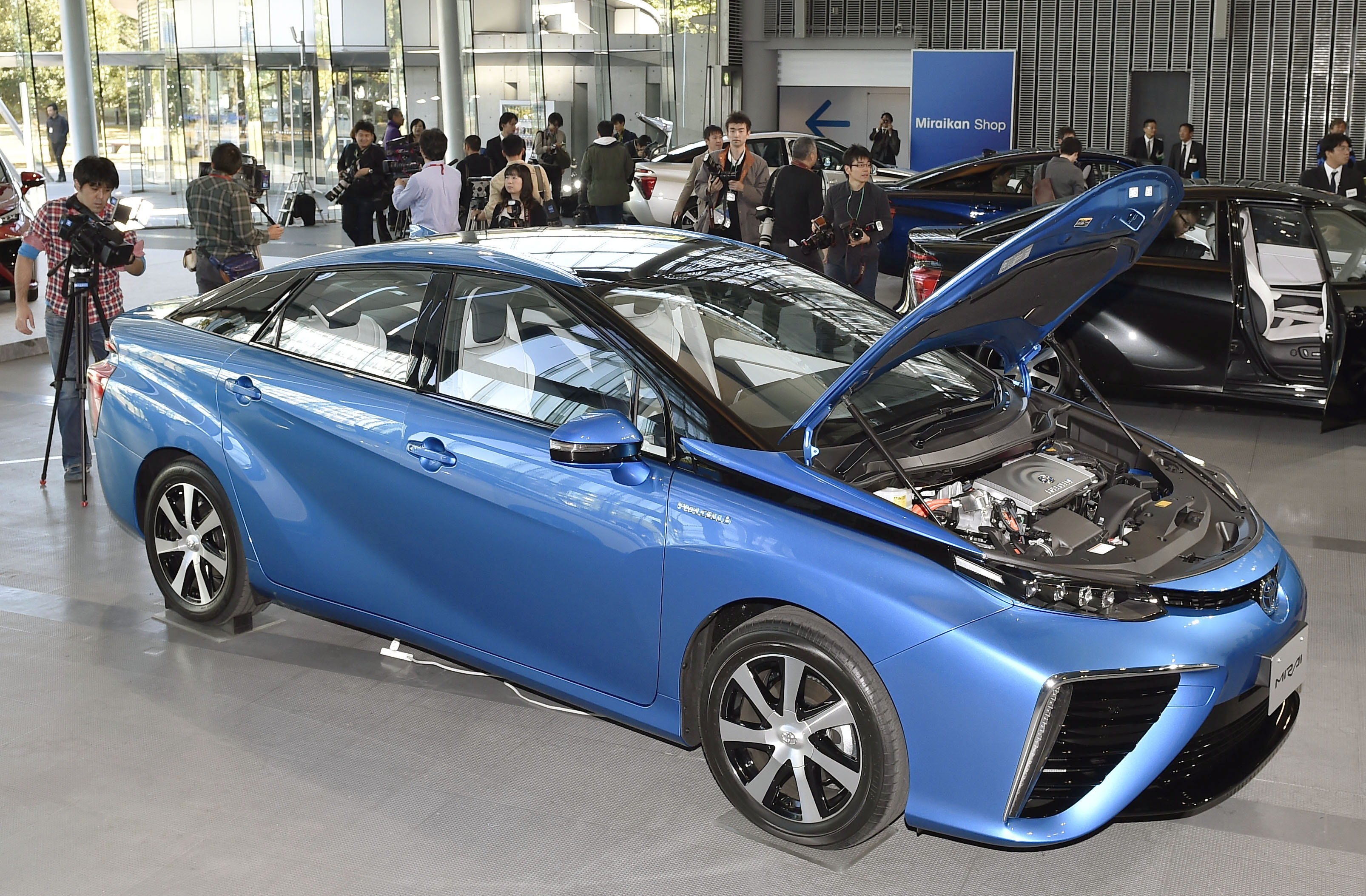 Toyota Motor Corp.'s new Mirai vehicle is displayed at the Miraikan ...