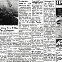 Opening WWI naval operations ended; U.S. architect plans Manchuria housing; Tokyo smog more poisonous; Ebola monkeys spur warning