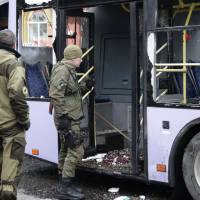 Eight civilians reported killed in shelling of Donetsk trolley stop; foes blame each other