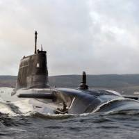 HMS Astute arrives at its base at Faslane, Scotland, in 2009. The British Navy's entire nuclear submarine fleet is powered by reactors manufactured by Rolls-Royce PLC. | AP