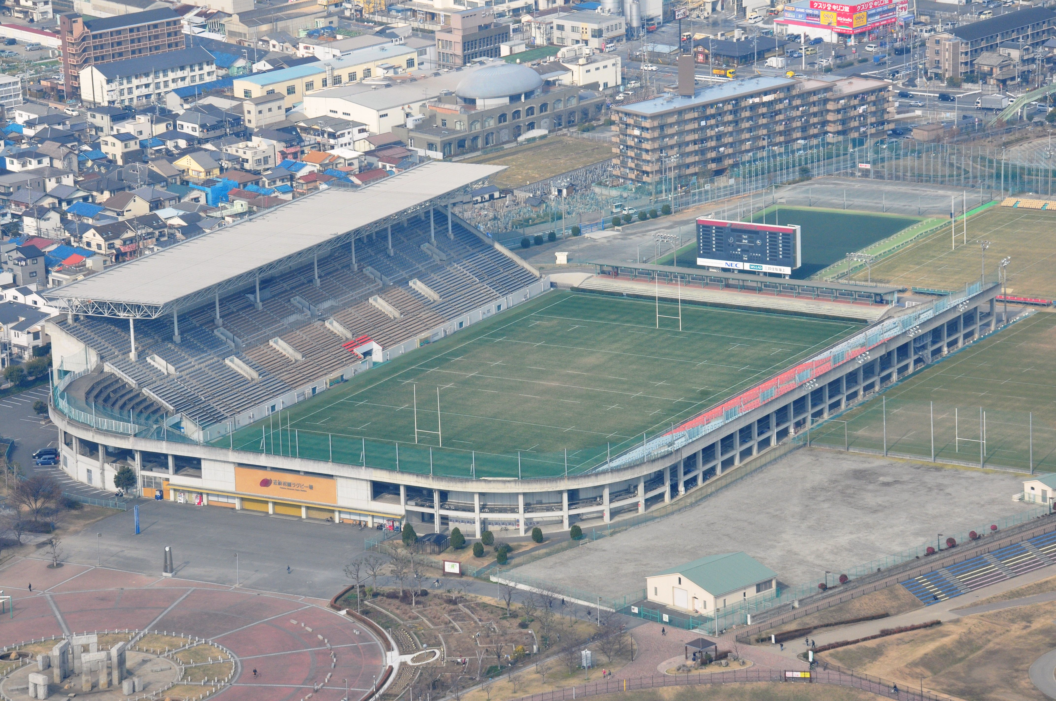 Hanazono Rugby Stadium Capacity: 30,000 Address: 1-1-1 Matsubara Minami, Higashi Osaka-shi, Osaka Pref. Notes: known as the venue of annual national rugby high school tournament