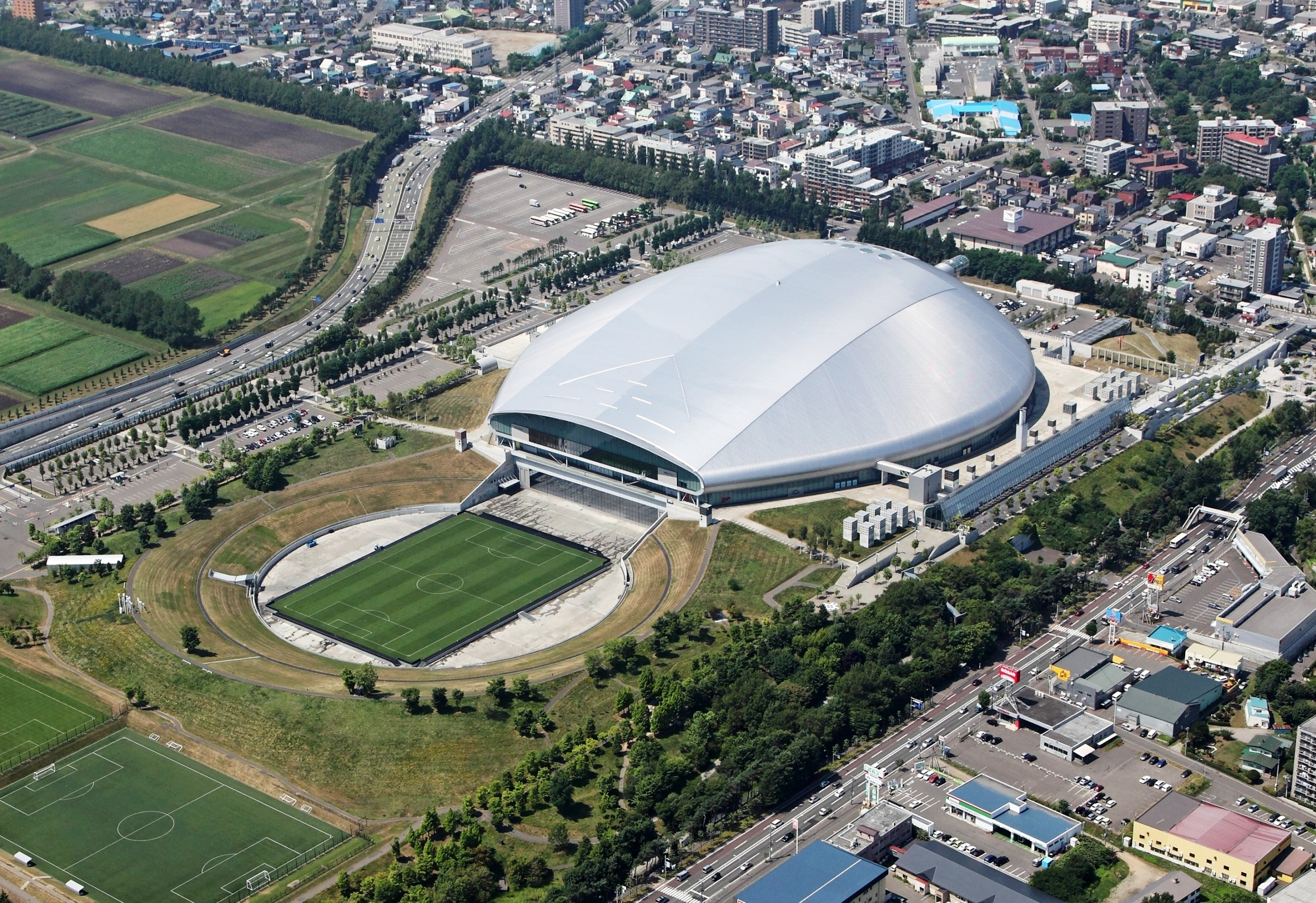 Sapporo Dome  Capacity: 41,410 Address: 1 Hitsujigaoka, Toyohira-ku, Sapporo, Hokkaido Notes: home of Hokkaido Nippon Ham Fighters (NPB), Consadole Sapporo (J. League second division)