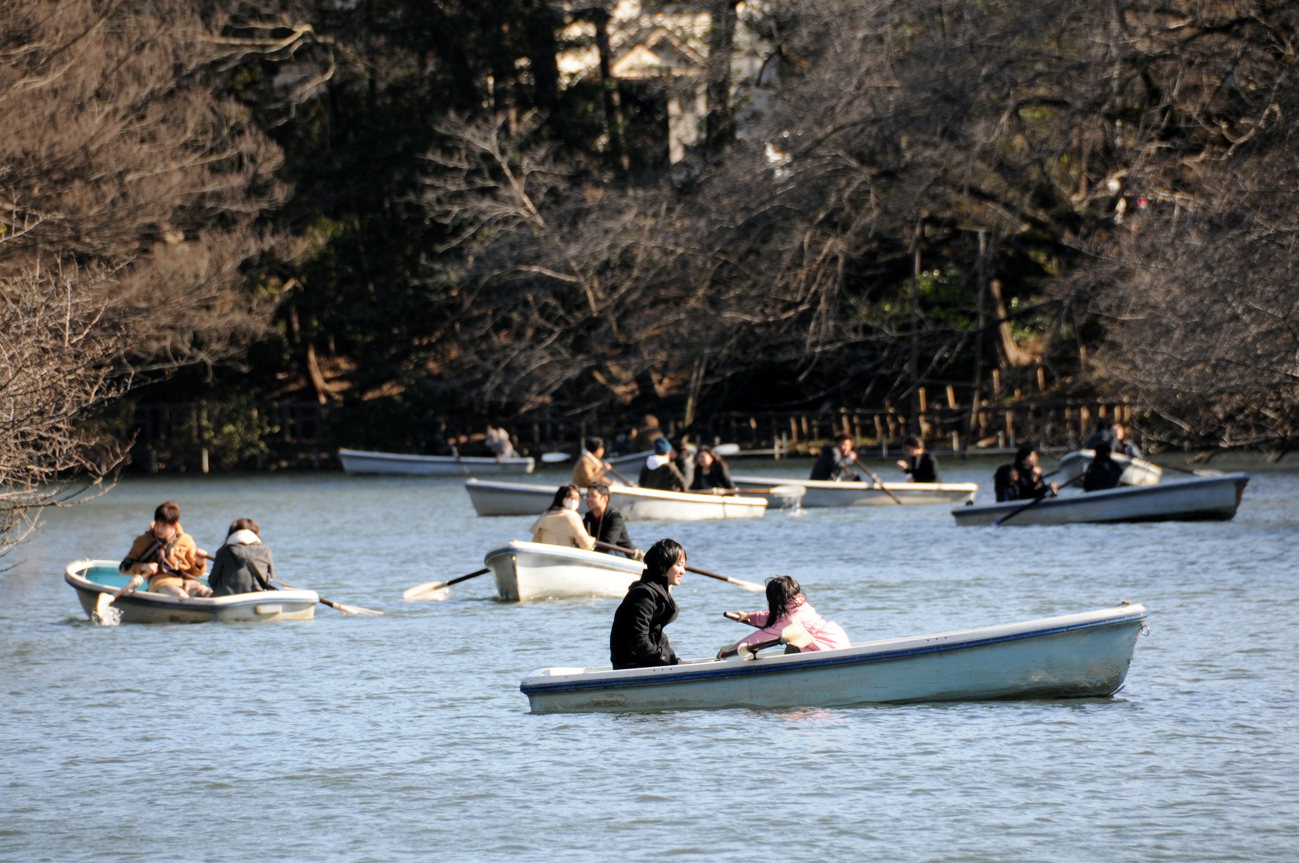 Visitors to Inokashira Park in the city of Musashino, Tokyo, enjoy a boat ride.