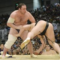 Hakuho steams ahead as Harumafuji falters