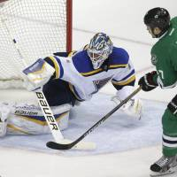 Schwartz's hat trick lifts Blues in thriller