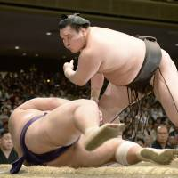 Hakuho, Harumafuji capture share of lead