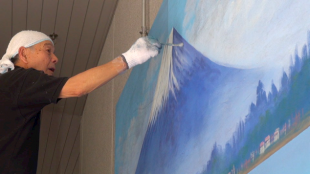 [VIDEO] Mount Fuji bathhouse mural live painting event at Keio Plaza Hotel