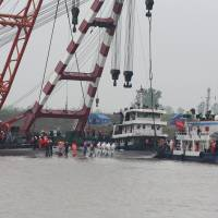 After divers find no more signs of life, China starts righting capsized cruise ship