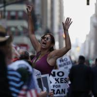 Foes of Iran nuclear deal wage mass Times Square protest