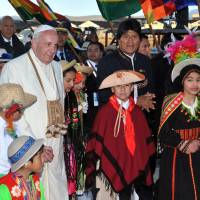 Pope pays brief high-altitude Bolivia visit, praises reforms, pays tribute to slain priest