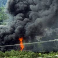 Thousands evacuated as train carrying flammable, toxic freight derails, catches fire in Tennessee
