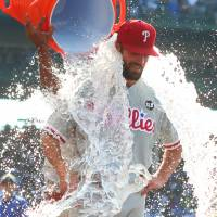 Phillies ace Hamels throws first no-hitter