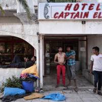 Abandoned hotel on Kos now home to unaided, unfed desperate migrant throngs